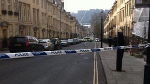 Police cordon on Gay Street in Bath.