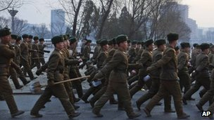 North Korean soldiers march in Pyongyang (16 March 2013)
