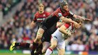 Alistair Hargreaves pounces on Ulster wing Andrew Trimble