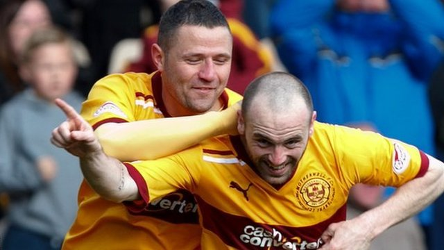 Motherwell forwards Michael Higdon and James McFadden