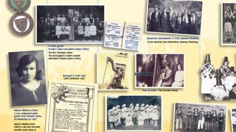 The timeline includes images and memories of Urdd events spanning decades