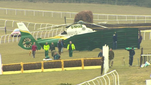 The air ambulance on the course at Hexham