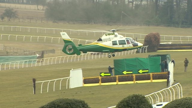 The air ambulance landing on the course at Hexham