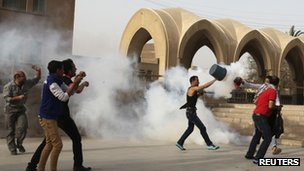 Tear gas fired outside St Mark's Cathedral in Cairo