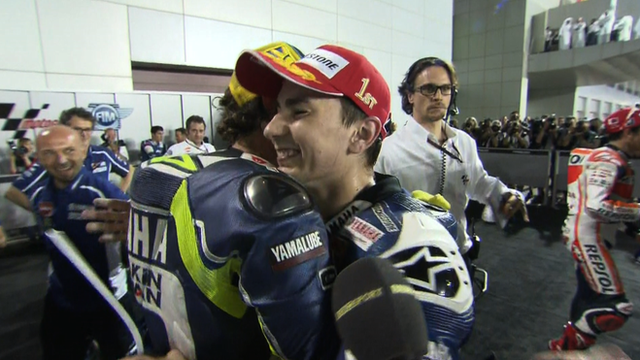 Valentino Rossi and Jorge Lorenzo (L-R)