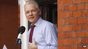 Julian Assange speaks at the Ecuadorean embassy in London on 19 August 2012