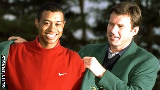 Tiger Woods and Nick Faldo