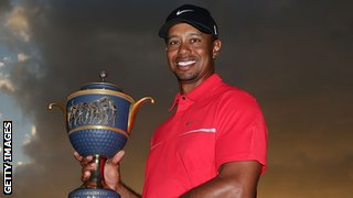 Tiger Woods with the World Golf Championships trophy