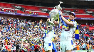 ZWarrington Wolves forward Trent Waterhouse lifts the 2012 Challenge Cup