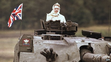 British Prime Minister Margaret Thatcher stands in a British tank during a visit to British forces in Fallingbostel, south of Hamburg, Germany