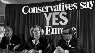 Margaret Thatcher with Willie Whitelaw and Peter Kirk at a referendum conference on Europe