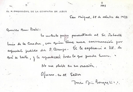 Letter dated 1977 from the then Fr Bergoglio regarding a 'disappeared' woman