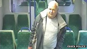 Peter Reeve captured on CCTV aboard the Weeley to Colchester train after he shot PC Ian Dibell