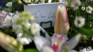 Floral tributes outside the home of Margaret Thatcher
