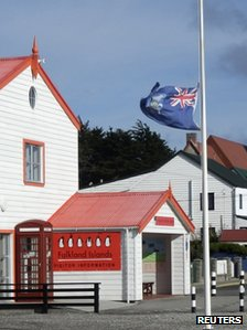 Falklands Islands flag flies at half mast on 8 April 2013