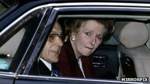 Mrs Thatcher leaving Downing Street for the last time
