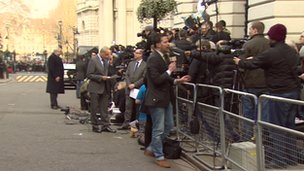 Camera crews at Downing Street
