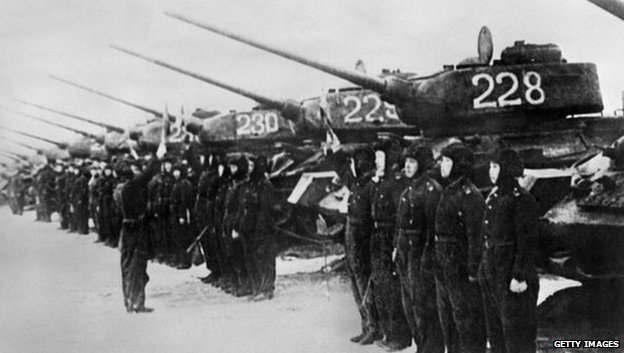 North Korean Army tank regiment during the Korean War 1950-1953.