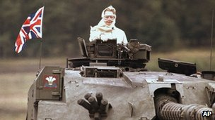 Baroness Thatcher in a tank during a visit to British forces in Fallingbostel, Germany, in 1986