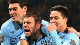 Manchester City's Gareth Barry James Milner Samir Nasri