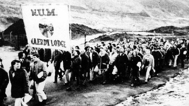 Miners march back to work at Mardy Colliery following the strike