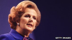 Margaret Thatcher gives a speech at her party conference in Brighton