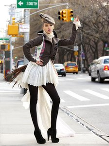 Model wearing Harris Tweed