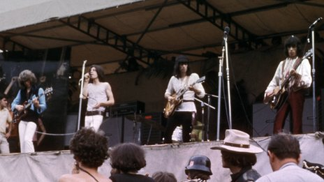 The Rolling Stones performing at Hyde Park in 1969