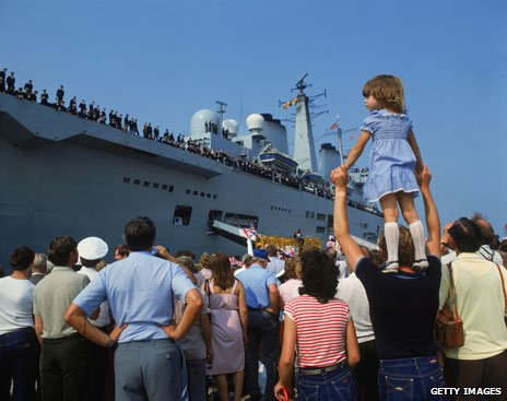 HMS Invincible's triumphant return from the Falklands, 1982