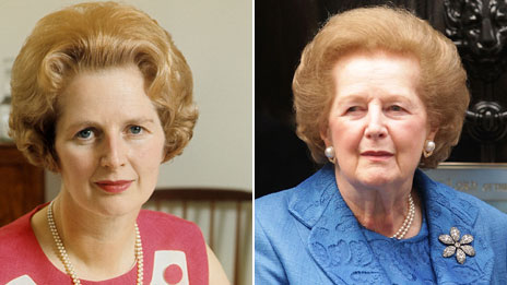 Margaret Thatcher in 1970, and in 2009
