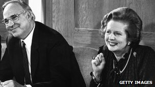 22 April 1983: Margaret Thatcher and her German counterpart, Helmut Kohl, at a press conference in London
