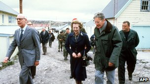 Touring Port Stanley in the Falkland Islands, 8 January 1983