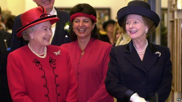 Queen Elizabeth II with Baroness Thatcher