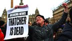 People gathered to celebrate the death of former British prime minister Margaret Thatcher in Glasgow's George Square.