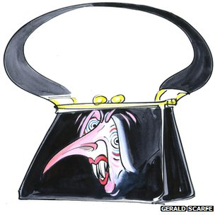 Gerald Scarfe image of Mrs Thatcher as a handbag