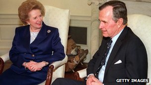 Baroness Thatcher and George Bush senior