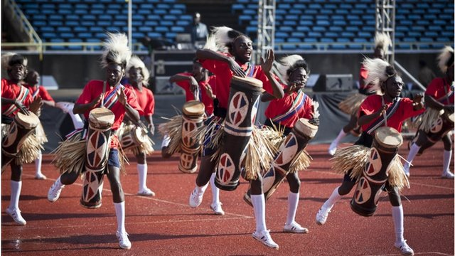 "Traditional drummers perform at the inauguration of Kenya""s President Uhuru Kenyatta in Kasarani,"