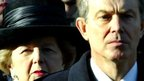 Margaret Thatcher and Tony Blair during a service at the Cenotaph in 2004