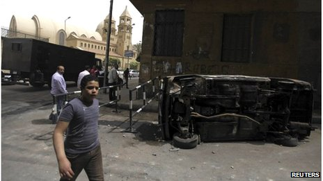 Damage caused by clashes outside St Mark's Cathedral (08/04/13)