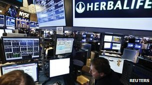 Herbalife logo at NY stock exchange