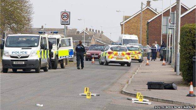 Police in Brunel Road, Luton
