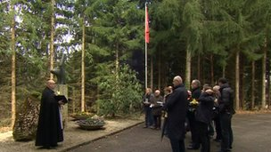 A special memorial service is held in woodland in Switzerland to mark the 40th anniversary of the Basle air crash