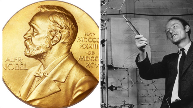 Nobel Prize medal and Francis Crick