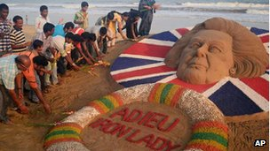 Sand sculpture of LAdy Thatcher in Puri, India