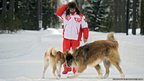 Russia's President Vladimir Putin with dogs