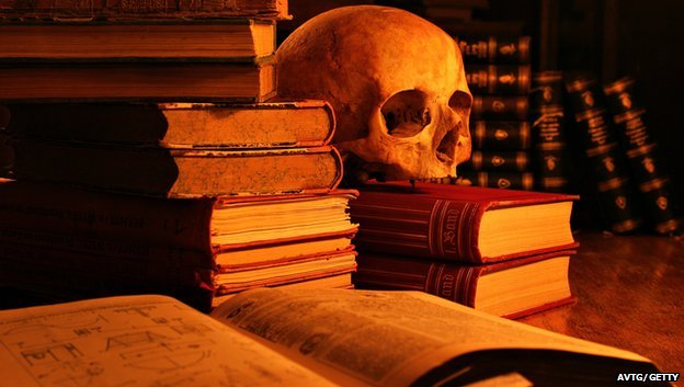 Skull and science books