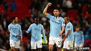 Gael Clichy of Manchester City salutes his club's fans