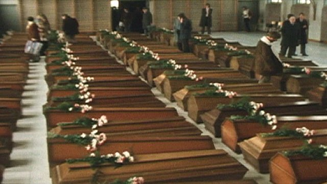 The 108 coffins were laid out for relatives who flew to Switzerland to identify the bodies of their loved ones