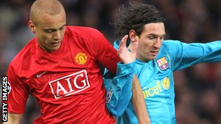 Wes Brown and Lionel Messi