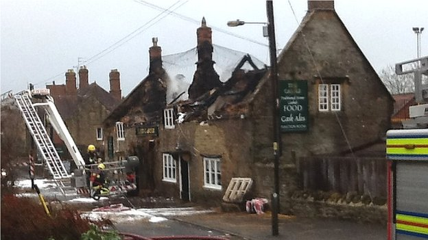 Bbc News Castle Inn In West Coker Badly Damaged By Roof Fire